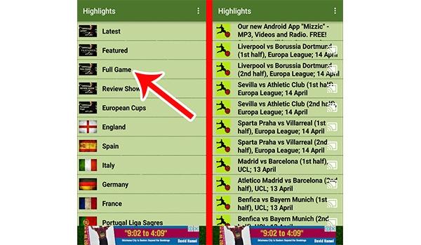 عرض مباريات كاملة من خلال تطبيق FootyLight